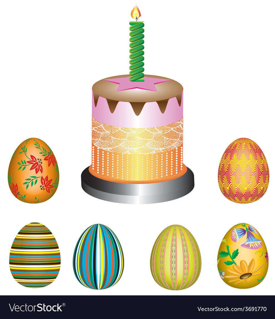 Easter eggs with a pie vector | Price: 1 Credit (USD $1)