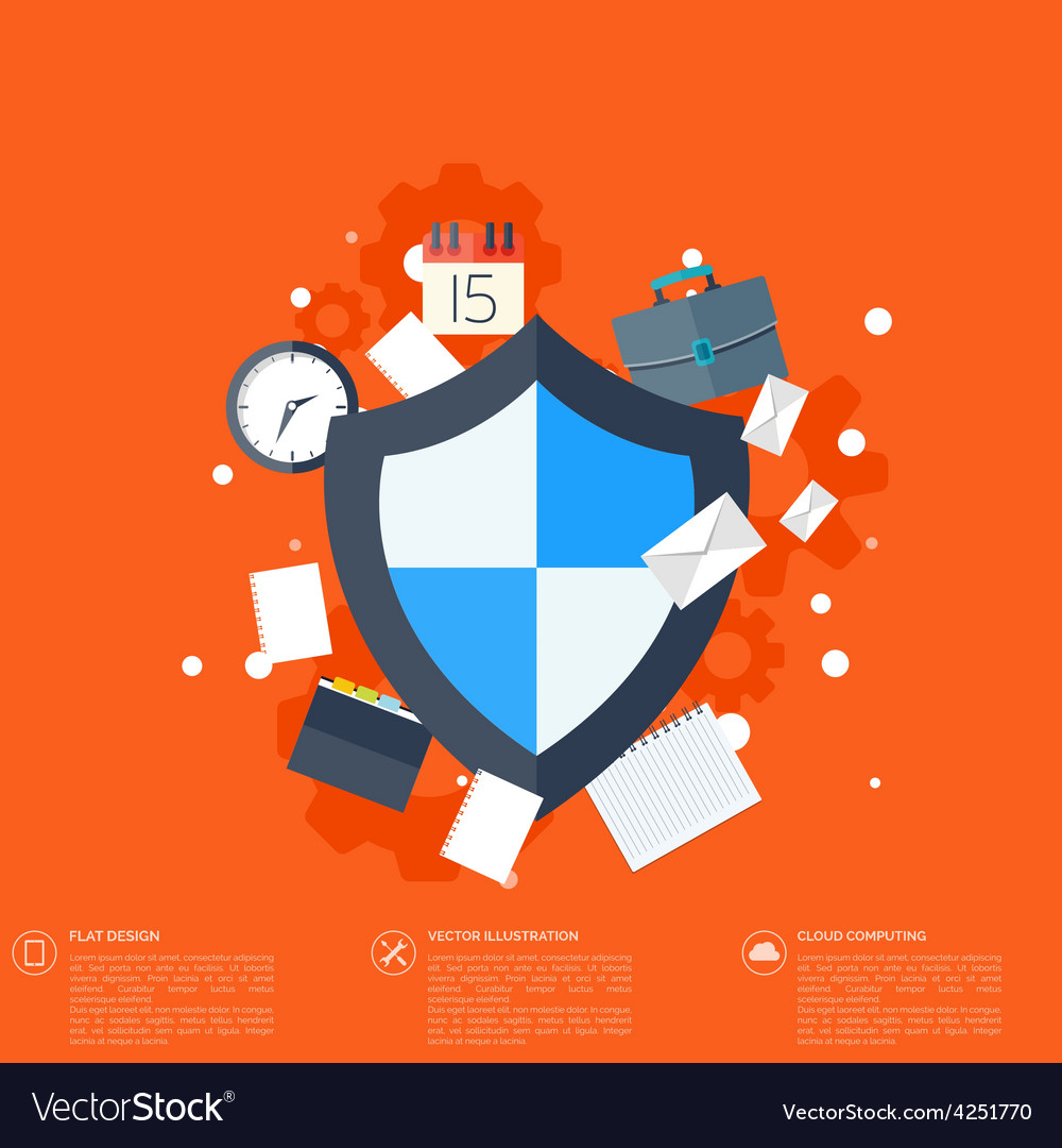 Flat shield icon data protection concept social vector | Price: 1 Credit (USD $1)