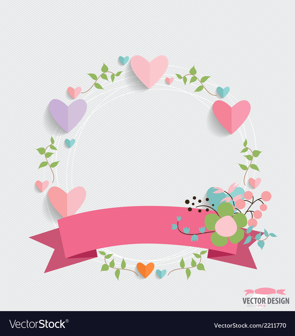 Floral bouquets with ribbon and heart vector | Price: 1 Credit (USD $1)
