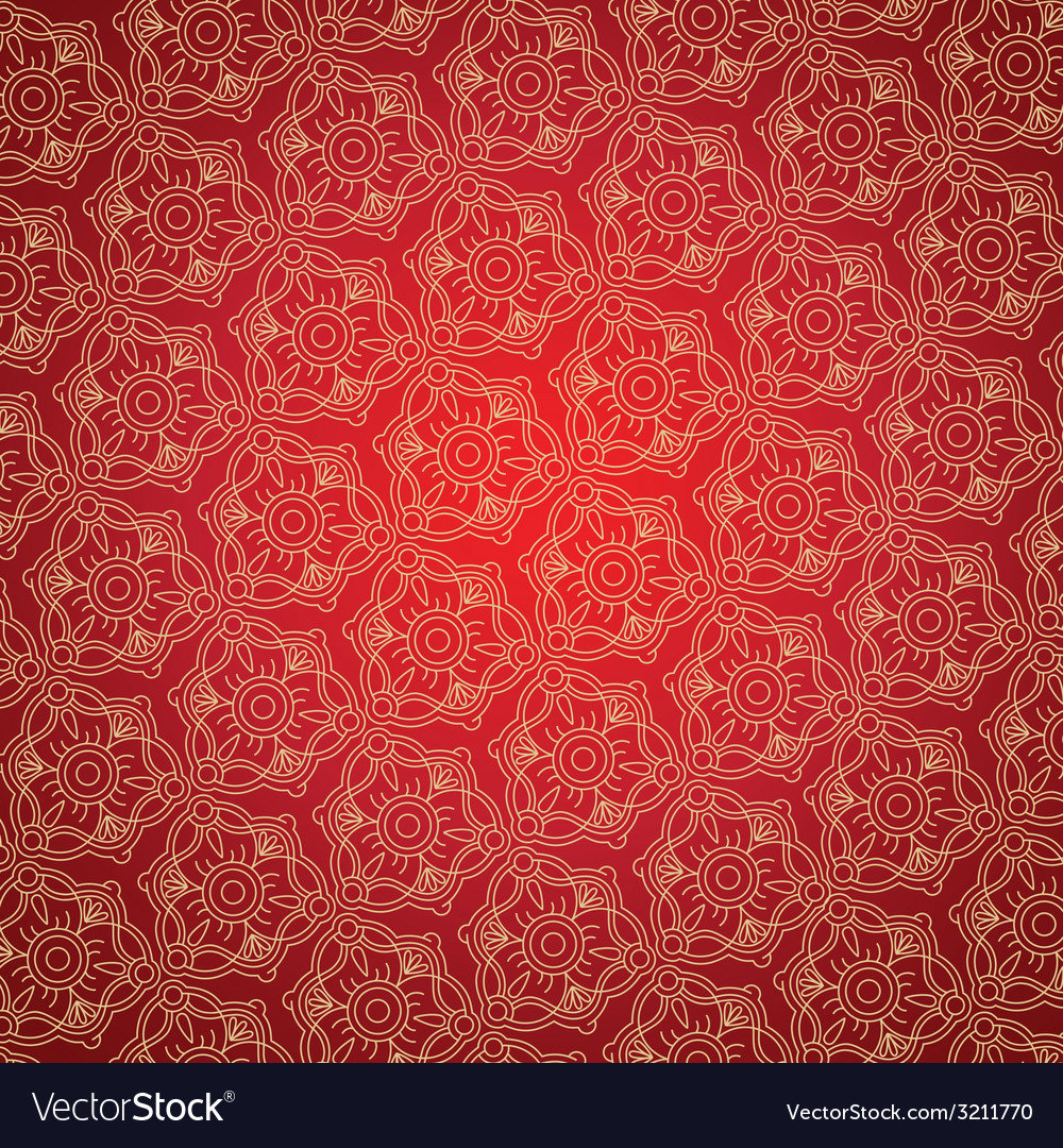 Gold ornament on the red background vector | Price: 1 Credit (USD $1)