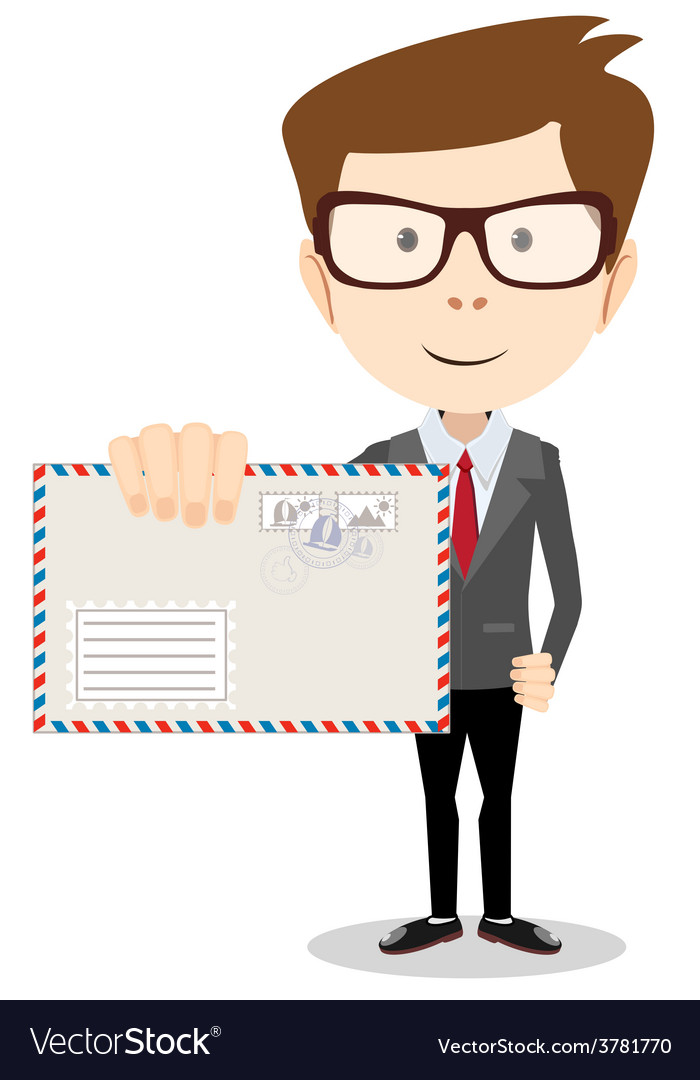 Modern postman delivered a letter to you vector | Price: 1 Credit (USD $1)