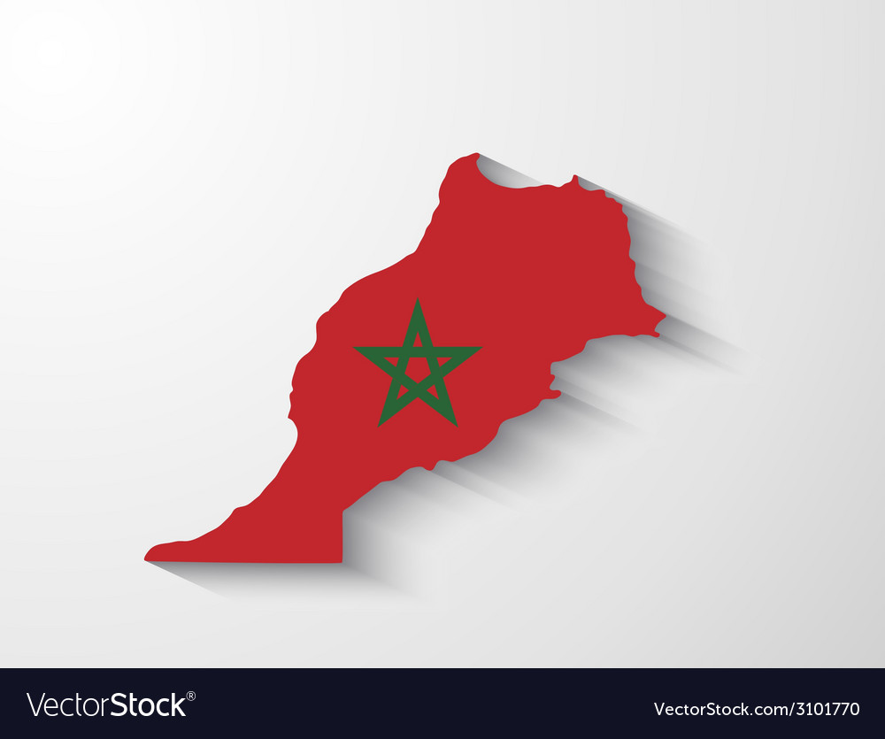 Morocco map with shadow effect vector | Price: 1 Credit (USD $1)