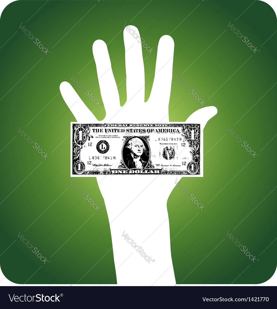 Palm with dollar bill vector | Price: 1 Credit (USD $1)