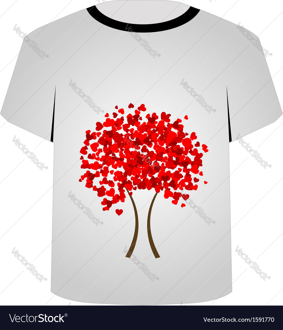 Printable tshirt graphic- heart tree vector | Price: 1 Credit (USD $1)