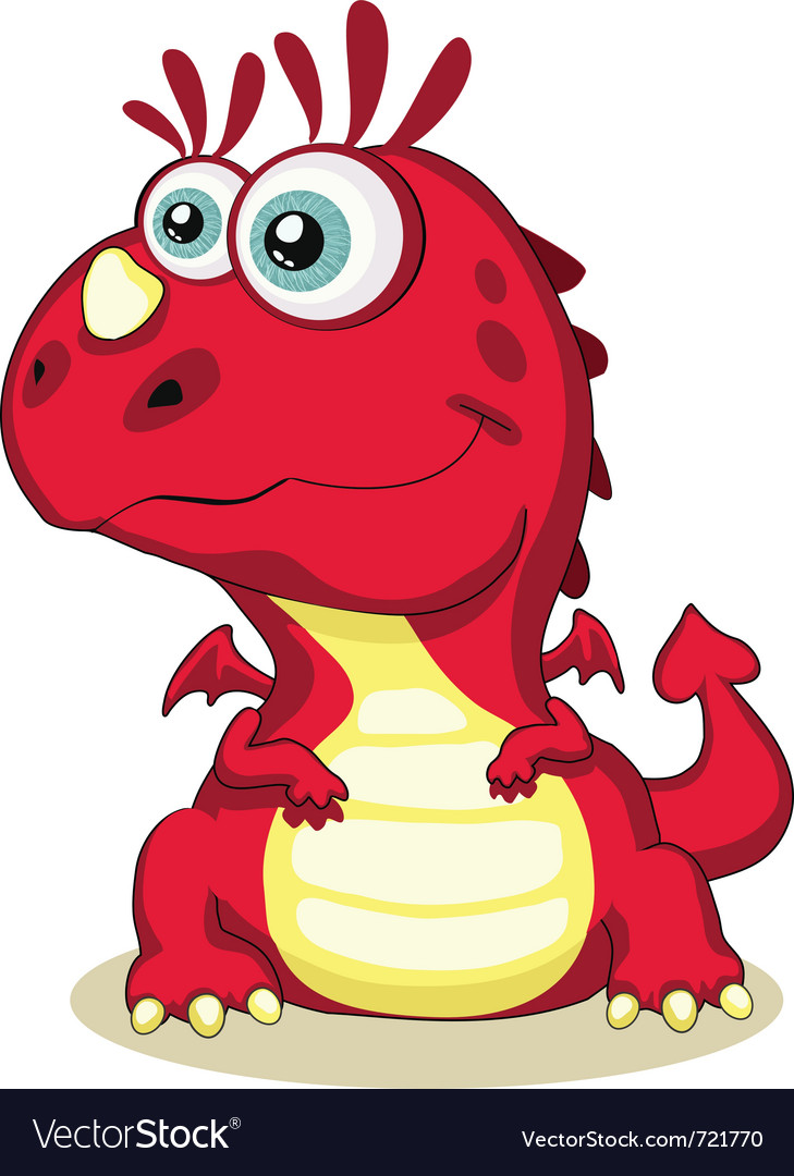 Red cartoon dragon isolated eps 8 5000x6215 vector | Price: 1 Credit (USD $1)