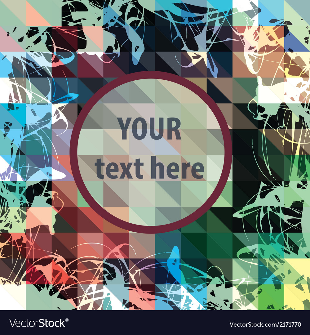 Round frame for text over colorful triangles vector | Price: 1 Credit (USD $1)