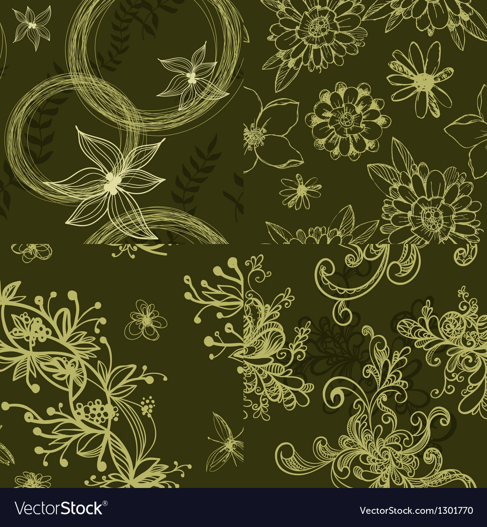 Set of green floral seamless patterns vector | Price: 1 Credit (USD $1)