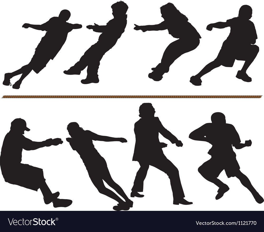 Tug of war rope pulling silhouettes vector | Price: 1 Credit (USD $1)