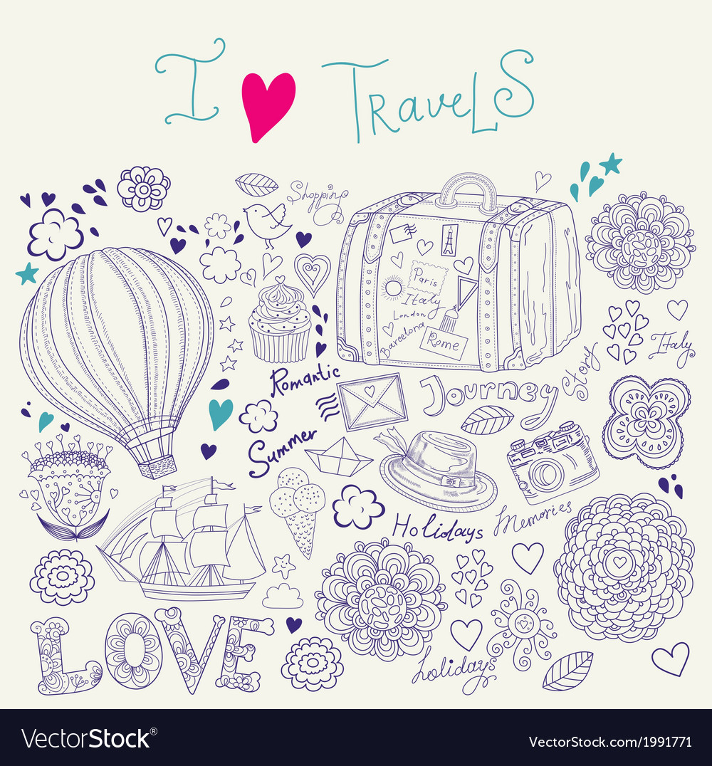 Artistic travel background vector | Price: 1 Credit (USD $1)