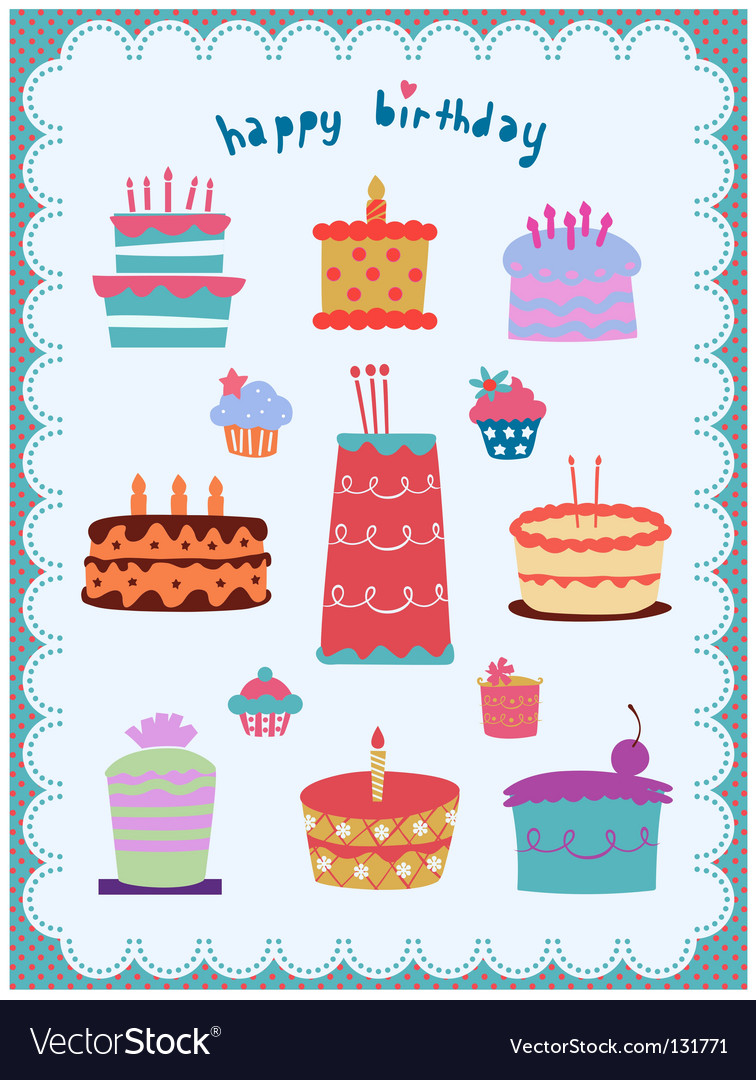 Cute and sweet cakes set vector | Price: 1 Credit (USD $1)