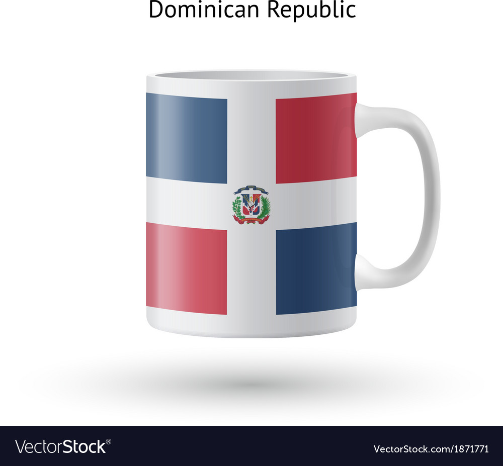 Dominican republic flag souvenir mug on white vector | Price: 1 Credit (USD $1)