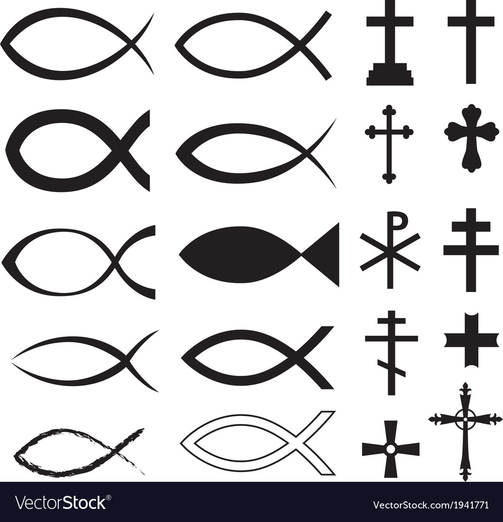 Fish and cross vector | Price: 1 Credit (USD $1)
