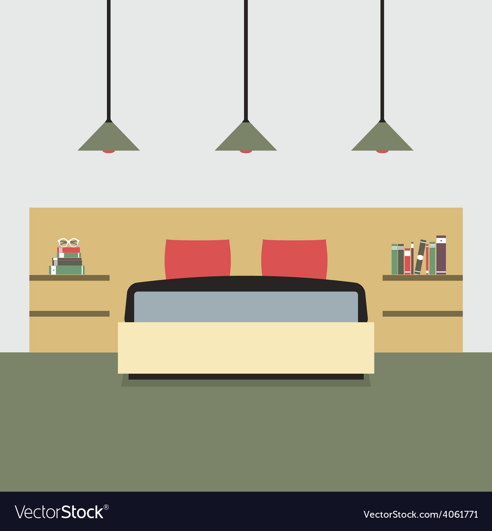 Flat design double bedroom vector | Price: 1 Credit (USD $1)