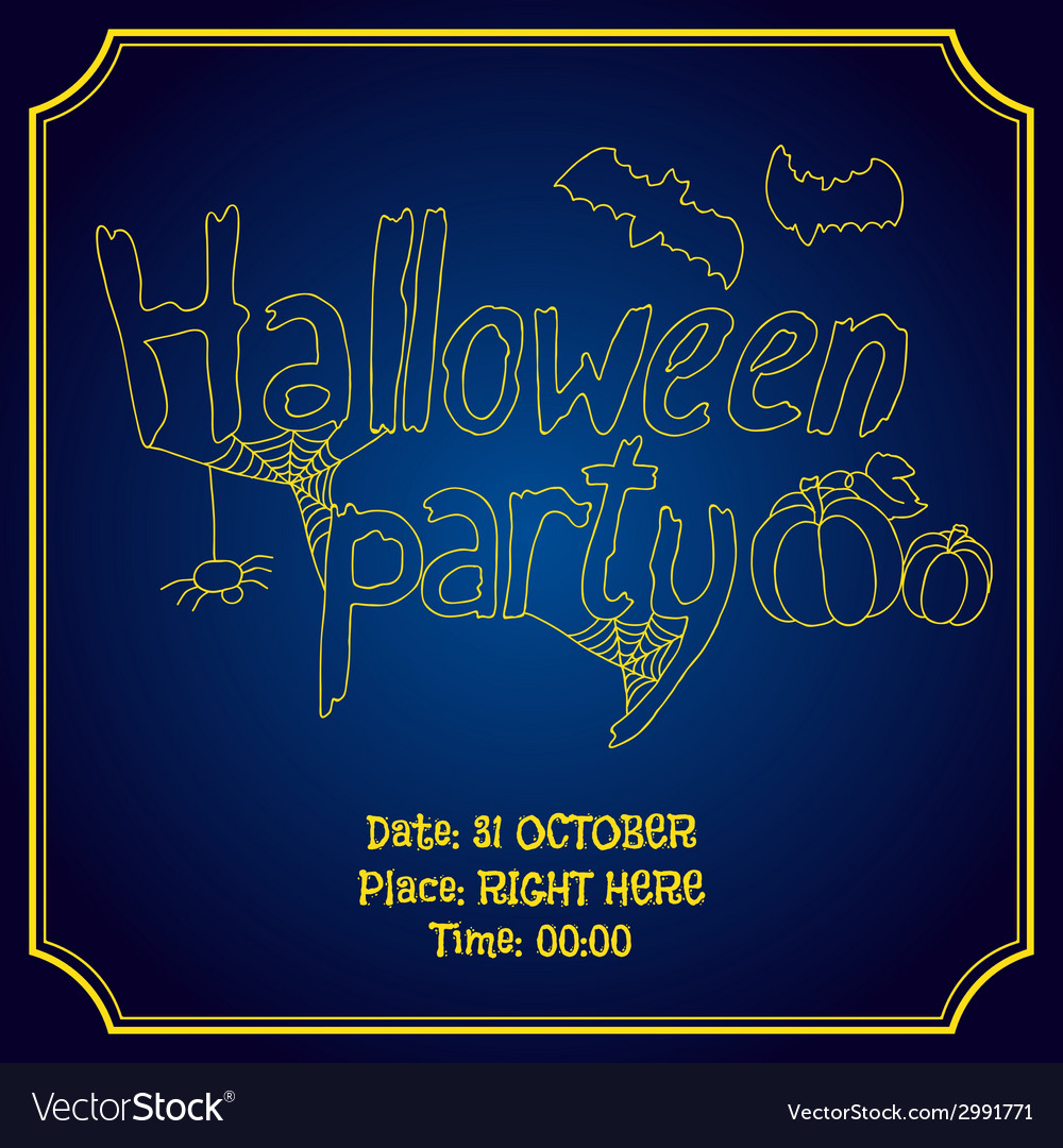 Halloween party poster with pumpkin and bats vector | Price: 1 Credit (USD $1)