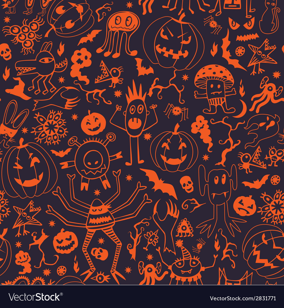 Seamless pattern with pumpkins and monsters vector