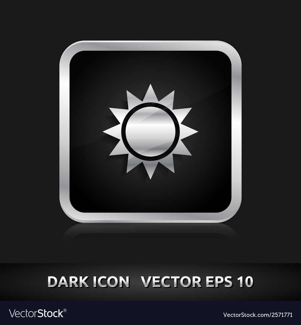 Sun icon silver metal vector | Price: 1 Credit (USD $1)