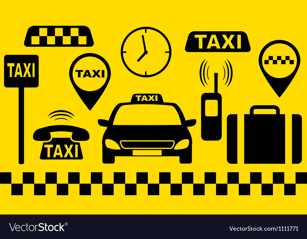 Transport set of taxi objects vector | Price: 1 Credit (USD $1)