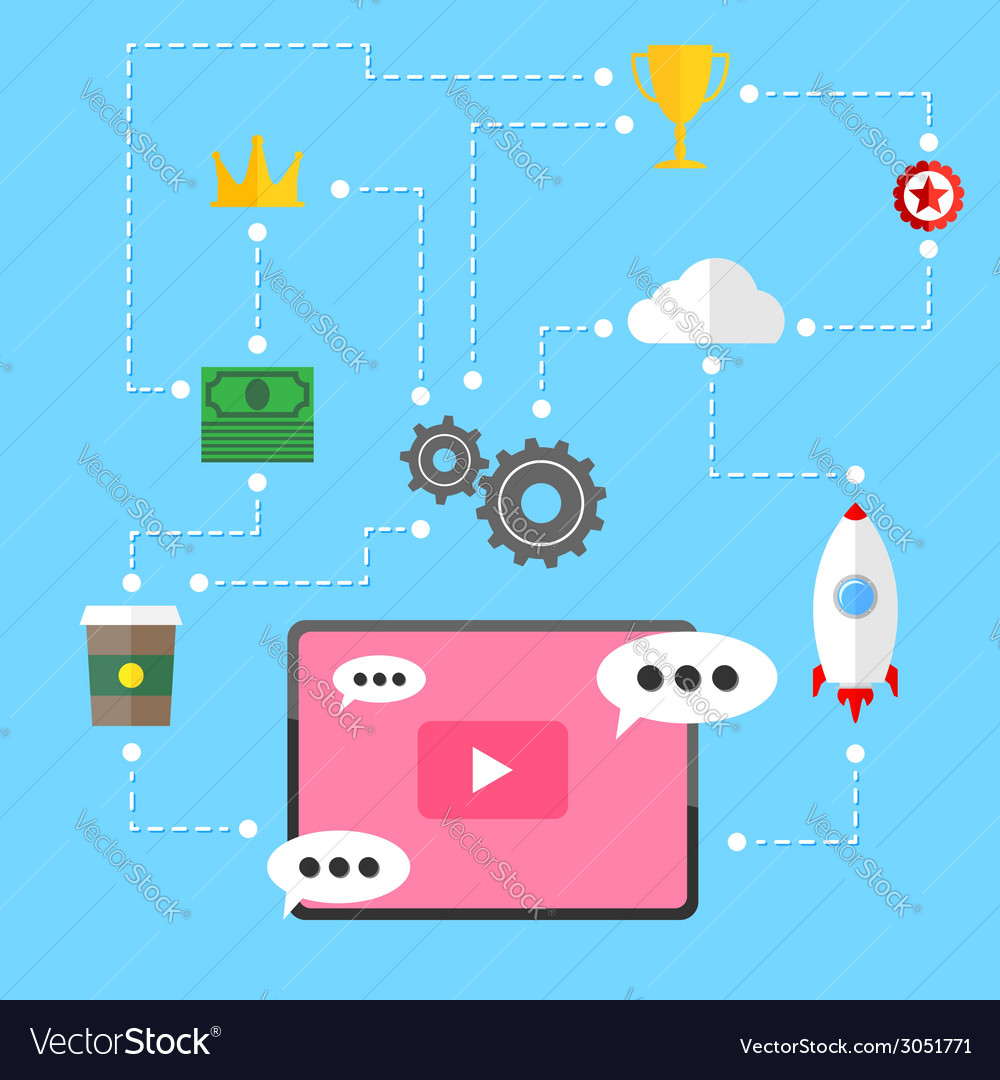 Video marketing strategy relation background vector | Price: 1 Credit (USD $1)