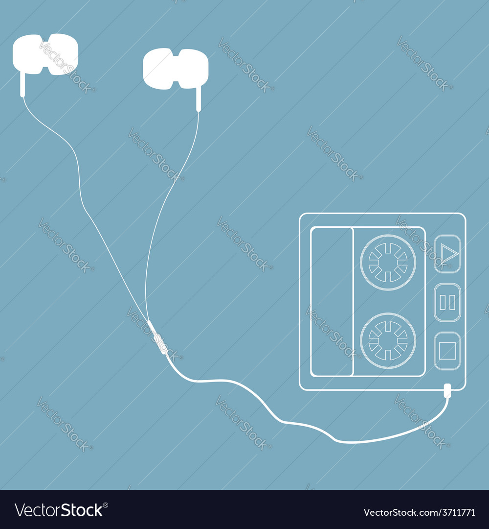 White headphones with cord and player in retro sty vector | Price: 1 Credit (USD $1)