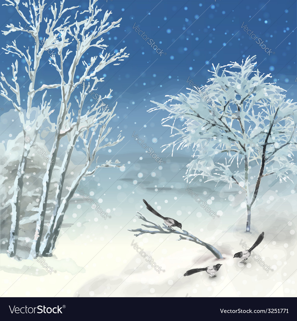 Winter atercolor landscape vector | Price: 1 Credit (USD $1)