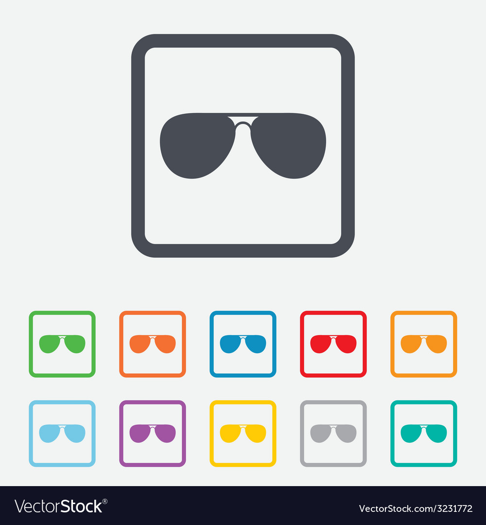 Aviator sunglasses sign icon pilot glasses vector | Price: 1 Credit (USD $1)