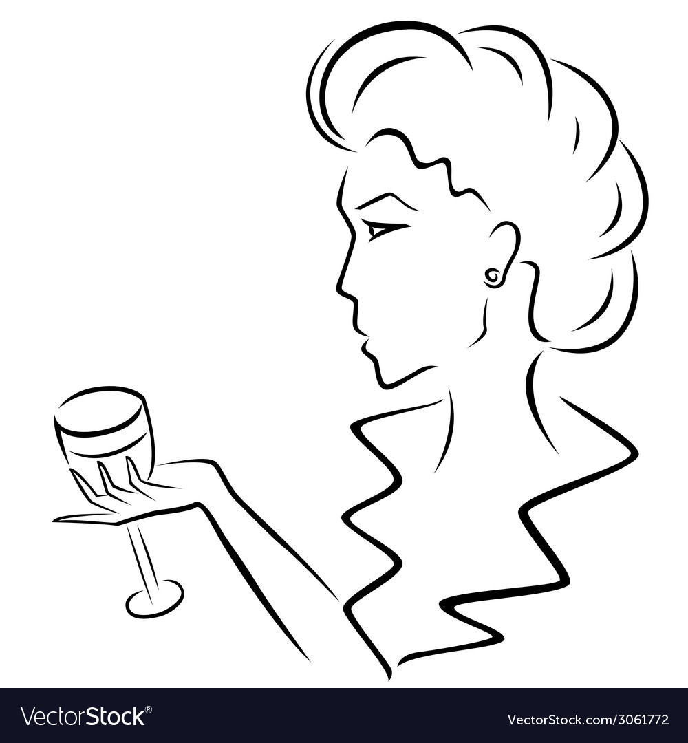 Beautiful woman with a wineglass in hand vector | Price: 1 Credit (USD $1)
