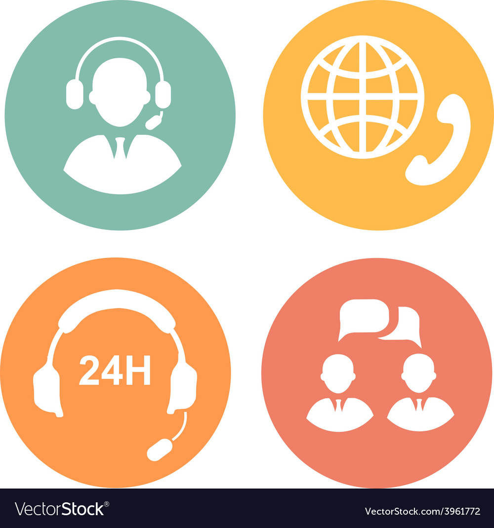Call center icons of operator and headset vector | Price: 1 Credit (USD $1)