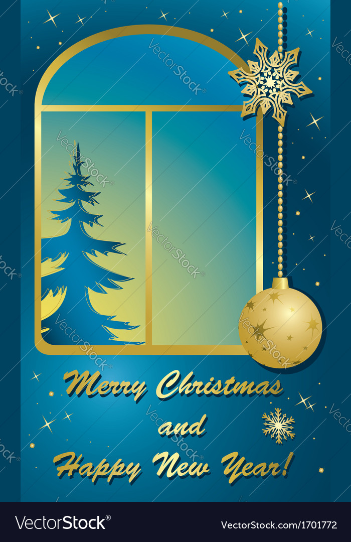Christmas card with window and gold decorations vector | Price: 1 Credit (USD $1)