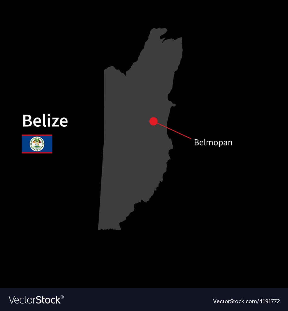 Detailed map of belize and capital city belmopan vector   Price: 1 Credit (USD $1)