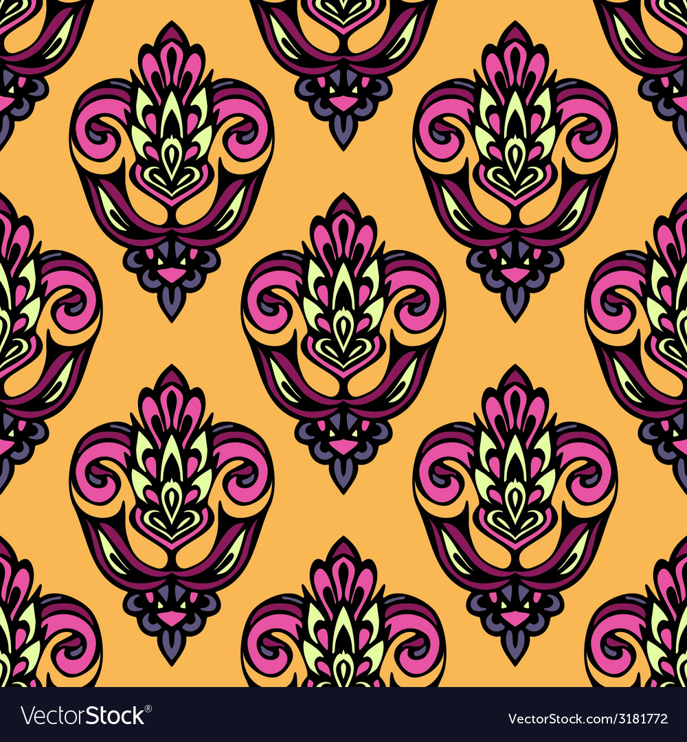 Festive summer damask flower seamless pattern vector | Price: 1 Credit (USD $1)