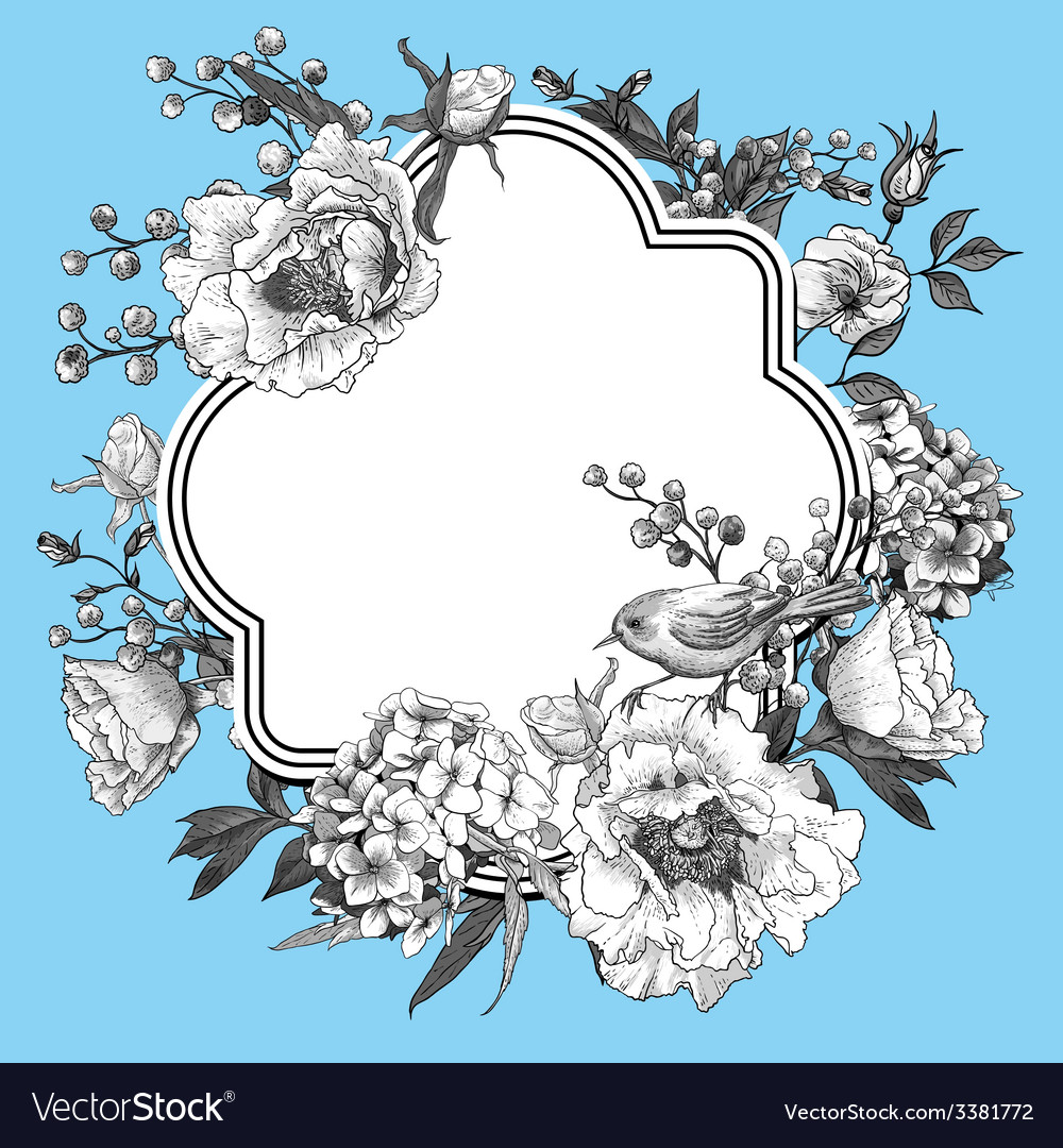 Gentle spring floral bouquet with birds vector | Price: 1 Credit (USD $1)