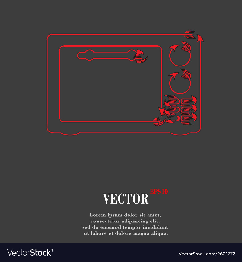 Microwave kitchen equipment flat modern web button vector | Price: 1 Credit (USD $1)