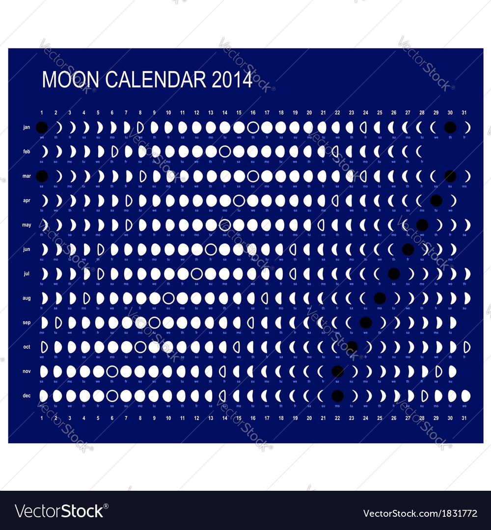 Moon calendar 2014 vector | Price: 1 Credit (USD $1)