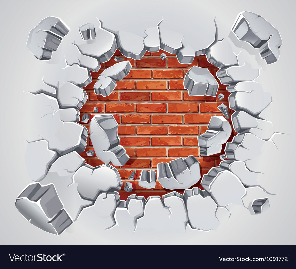 Old plaster and red brick wall damage vector | Price: 1 Credit (USD $1)