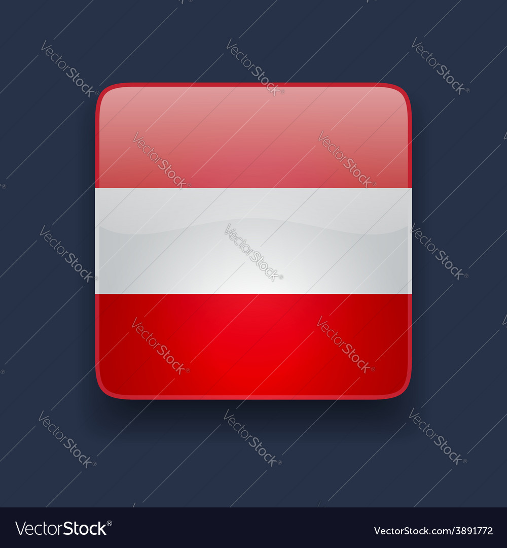 Square icon with flag of austria vector | Price: 1 Credit (USD $1)