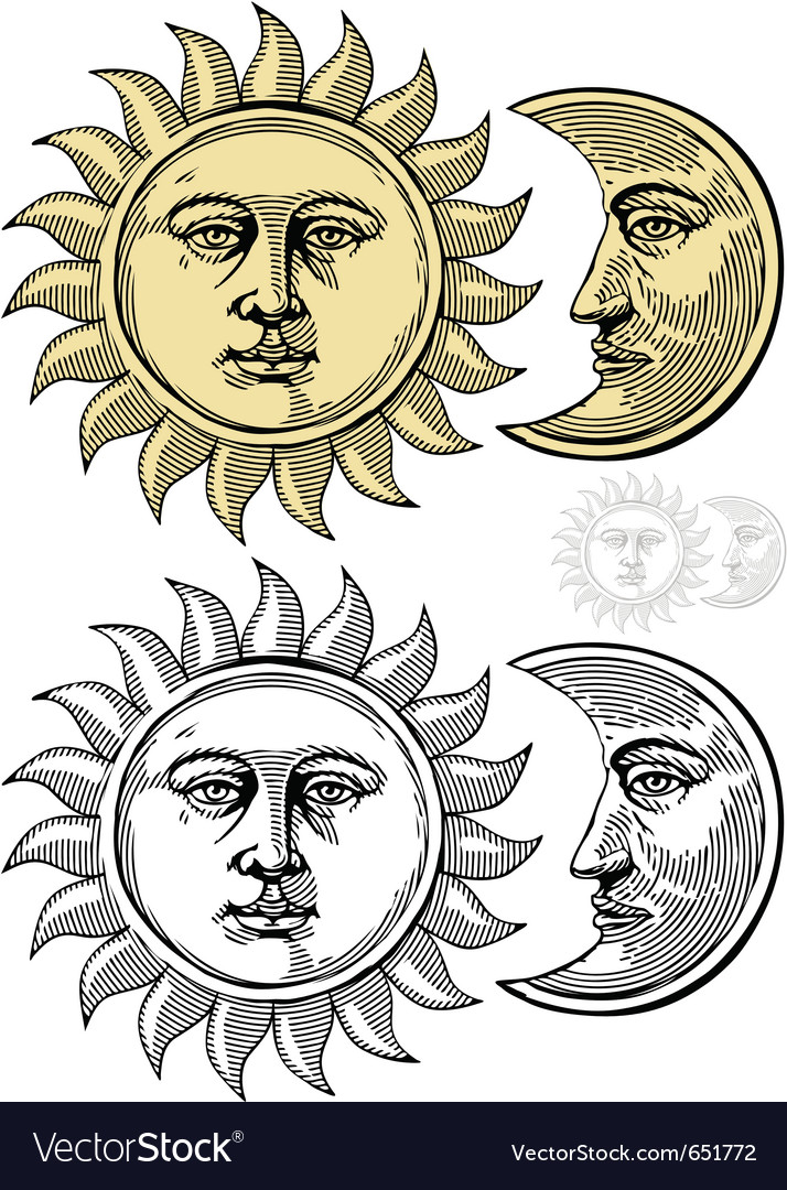 Sun and moon with faces vector | Price: 1 Credit (USD $1)