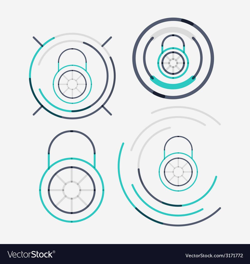 Thin line neat design logo set lock concepts vector | Price: 1 Credit (USD $1)