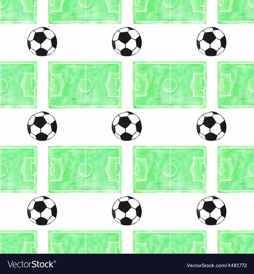 Watercolor seamless pattern with ball and football vector | Price: 1 Credit (USD $1)