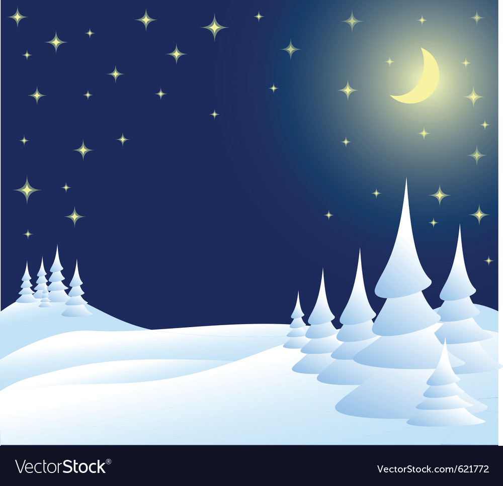 Winter christmas landscape in night vector | Price: 1 Credit (USD $1)