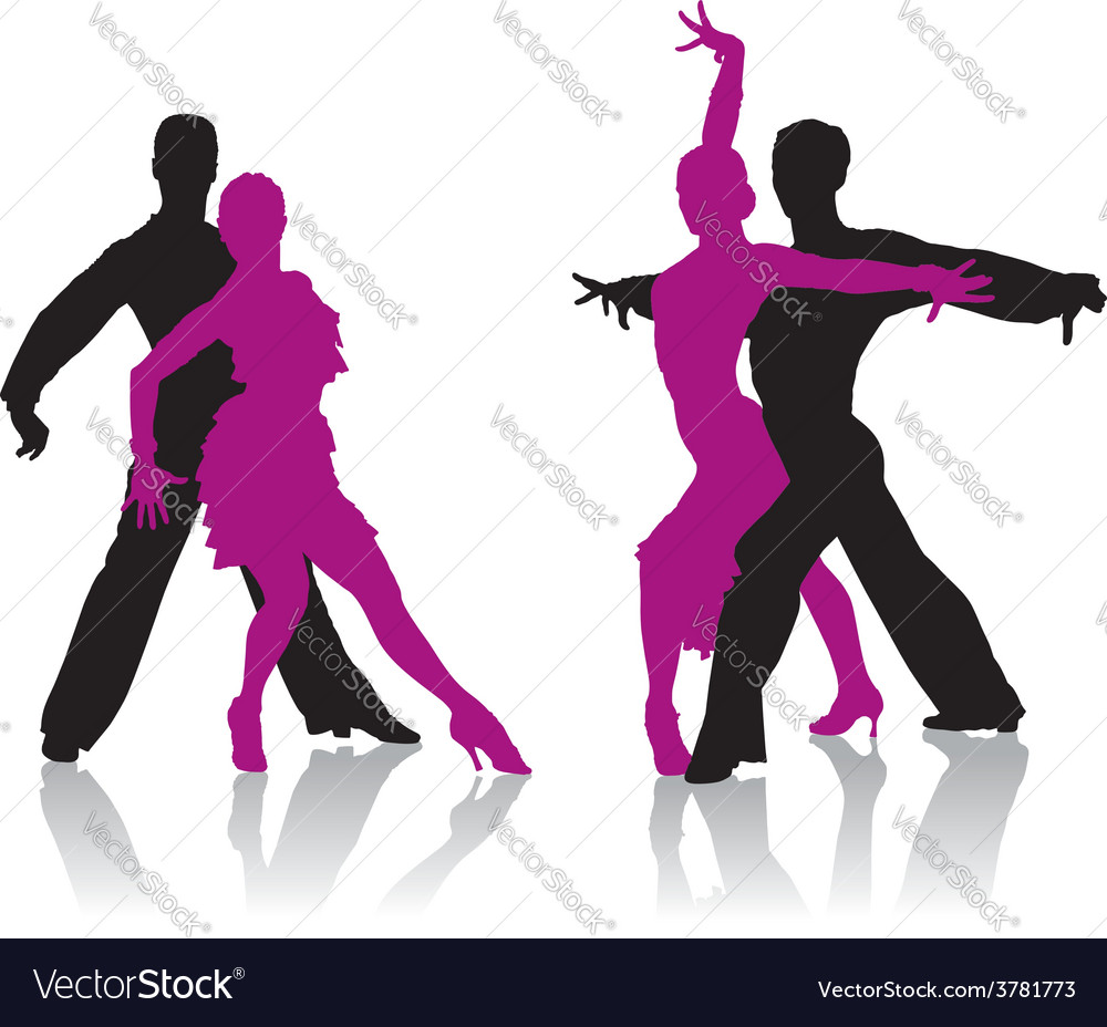 Ballroom dancers silhouettes vector | Price: 1 Credit (USD $1)