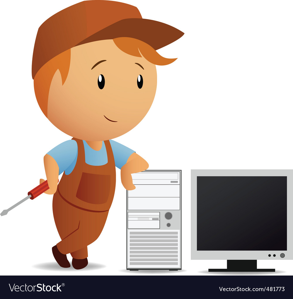 Cartoon serviceman with computer vector | Price: 1 Credit (USD $1)