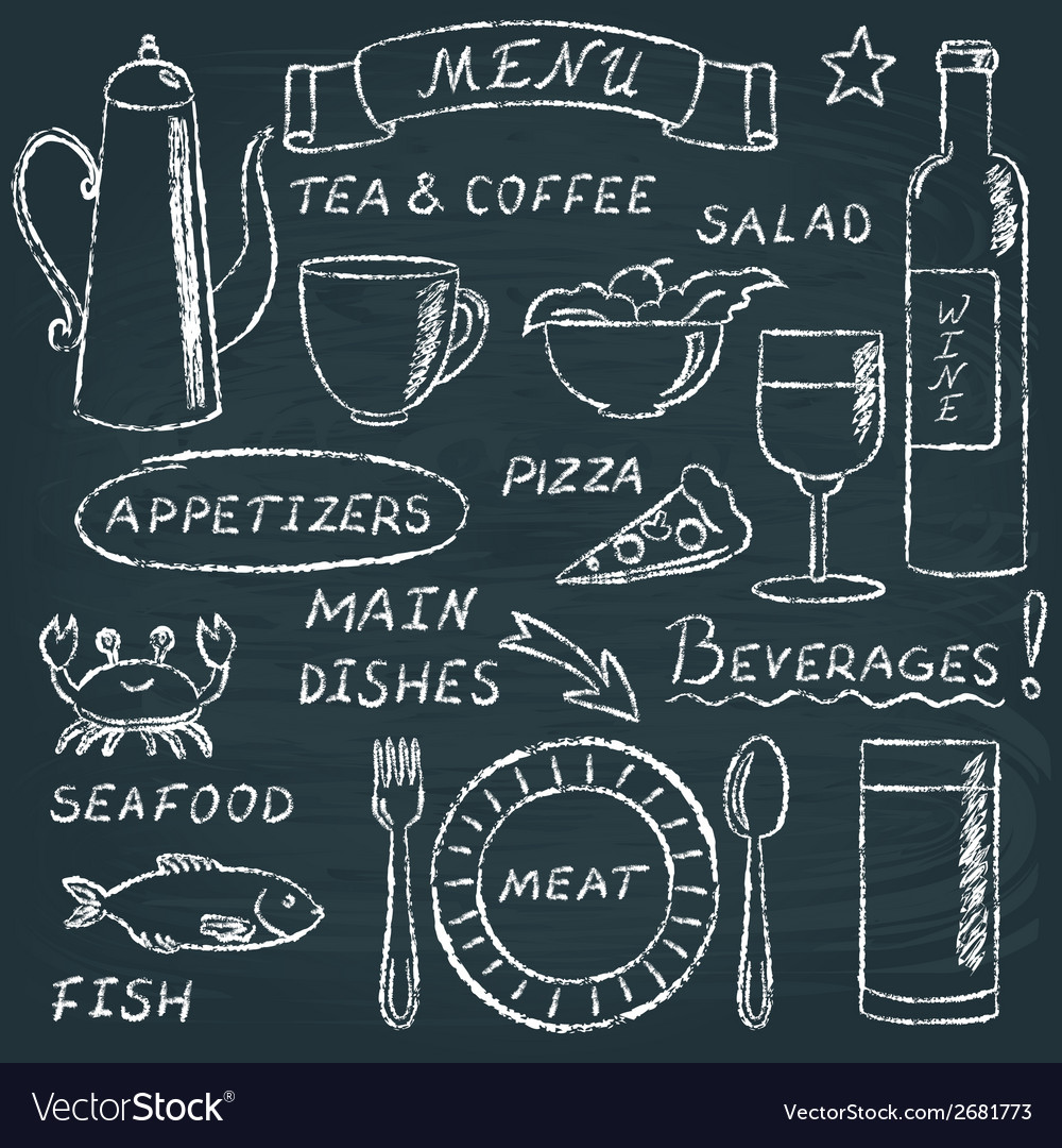 Chalkboard menu elements set 2 vector | Price: 1 Credit (USD $1)