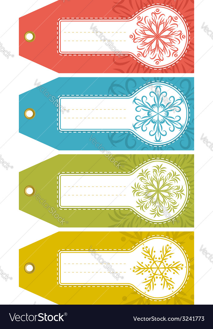 Christmas labels with snowflakes and place for tex vector | Price: 1 Credit (USD $1)
