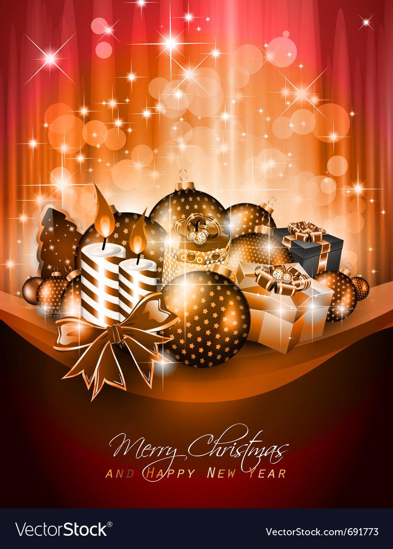 Elegant christmas poster vector | Price: 3 Credit (USD $3)