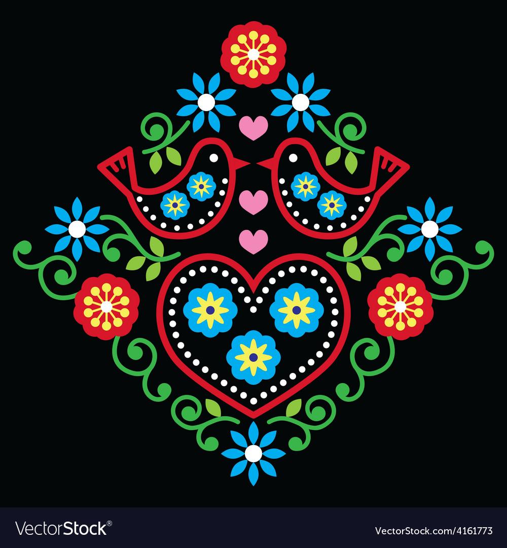 Folk art floral pattern on black vector   Price: 1 Credit (USD $1)