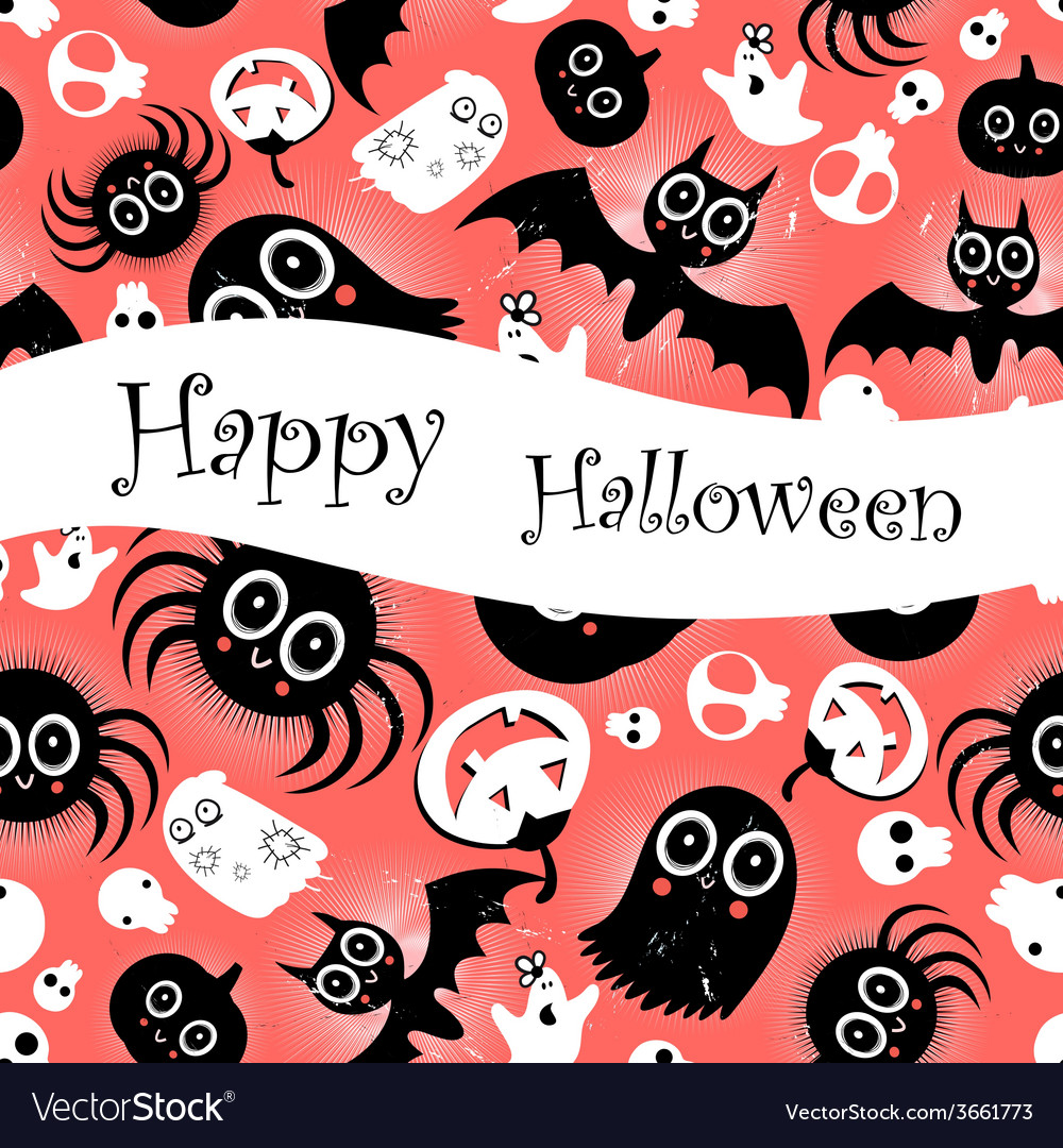 Funny halloween background monsters vector | Price: 1 Credit (USD $1)