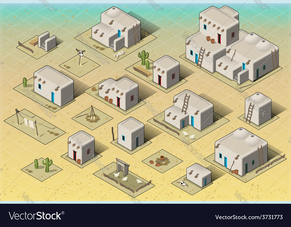 Isometric western rural pueblo basic set tiles vector | Price: 3 Credit (USD $3)
