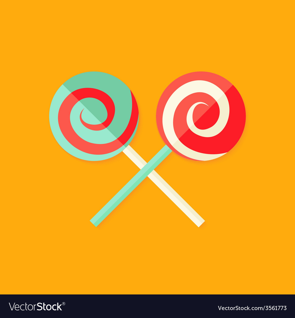 Lollipop sweets christmas flat icon vector | Price: 1 Credit (USD $1)