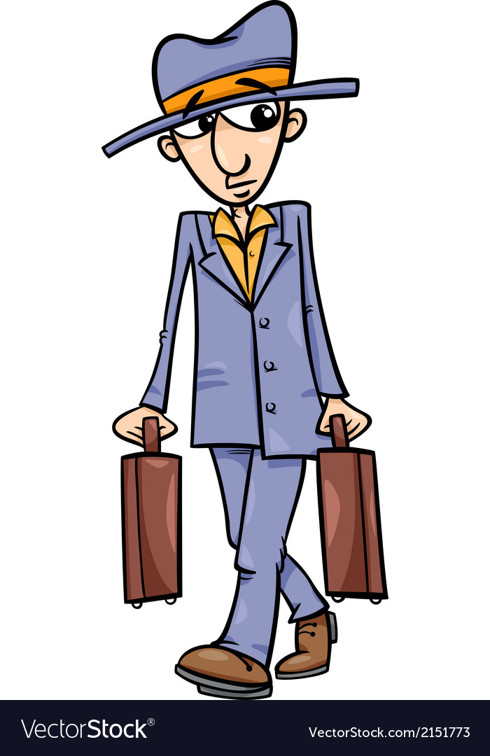 Man with suitcases cartoon vector | Price: 1 Credit (USD $1)