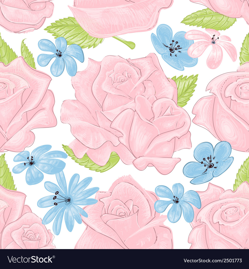 Pink roses seamless pattern over white vector | Price: 1 Credit (USD $1)